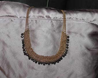 Vintage Beaded Gold Necklace