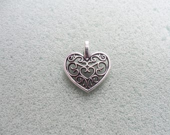 10 filigree heart charms - curved back - tibetan silver - 14mm x 16mm - tibet silver charm - silver heart charm - heart pendant