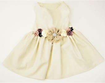Wedding Dog Dress | Plum and Beige Dog Dress | Flower Girl Dog Dress | Wedding or birthday party |The Milly | XS S M L