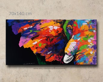 70 x 140 cm, Colorful Elephant Painting wall decor