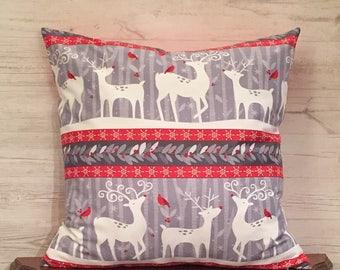 Deer Pillow Cover - Reindeer Pillow - Seasonal Pillow - Gray and Red Pillow - Winter Pillow - Christmas Pillow - Holiday Pillow