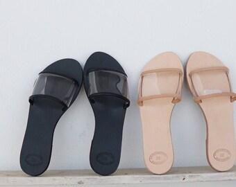 NEW! Natural or Black Color Leather Sandals, Pvc Greek Sandals, Clear Strappy Slide Sandals in Handmade, Chic Sandal, Transparent Sandals
