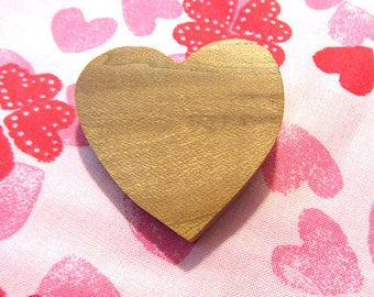 Vintage 80's Handcarved Sagebrush Wooden Heart Pin, Rustic EcoFriendly Handmade Western Natural Jewelry OOAK Artisan Crafted Romantic Brooch