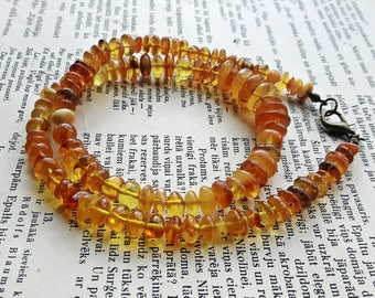 Vintage Genuine Baltic Amber necklace, yellow amber necklace, egg yolk semicircular amber beads