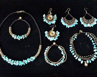 Turquoise Lover Set Special Price 50 USD- Necklace, Bracelets, Earrings, Anklet, Multi Strand Turquoise Ankle Bracelet
