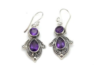 Sterling Silver and Amethyst Bali Earrings