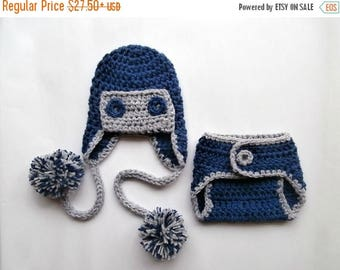 ON SALE 20% DISCOUNT Aviator Baby Boy Hat and Diaper Cover Set -Newborn Baby Boy -  Photography Photo Prop Set - Newborn Diaper Cover and Ha