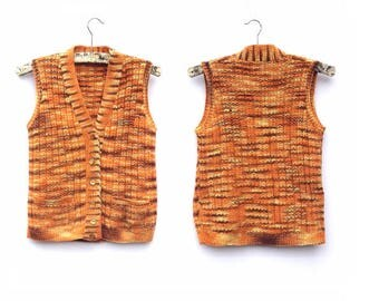 70's Waistcoat / Hand knitted / Tiger Tiger