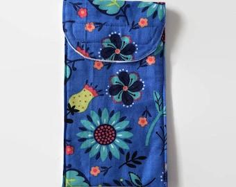 Glasses, Sun Glasses, Reading Glasses Pouch Case - Blue Floral Print