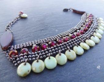 Raspberry/green ethnic style bracelet