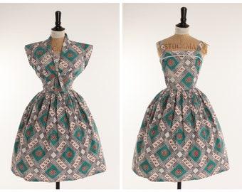 Vintage original 1950s 50s novelty print cotton dress n matching bolero UK 8 10 US 4 6 S