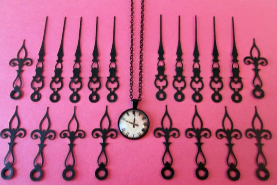 "10 Pairs of Vintage Fancy Steel Clock Hands 2 1/2"" and 3 1/5"" for you Clock Projects, Steampunk Art, Jewelry Making and Etc..."