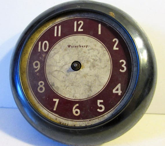"Old and Worn 5 1/2"" Round Partial Vintage Waterbury Alarm Clock for Repair, Parts, Steampunk Art and etc..."
