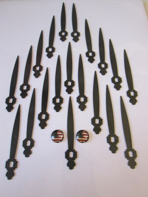 20 Vintage Black Steel Sword Design Clock Hands - for your Clock Projects , Jewelry Making, Steampunk Art + Etc...