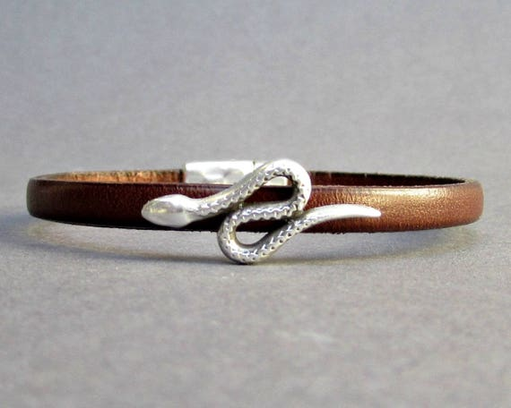 Snake Mens Leather Bracelet Cuff Dainty Silver Unisex Bracelet Customized On Your Wrist