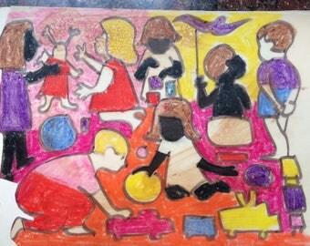 Wonderful Group of kids, many kids, a copy on acid free paper, Ca. 1975  D Messenger