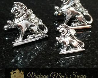 Vintage cufflinks tie tack Egyptian lion by Swank Aas-1