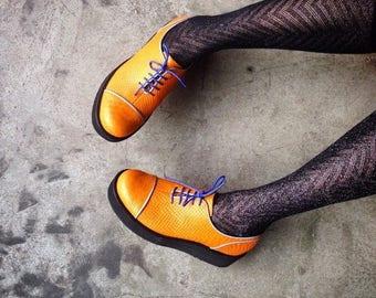 ON SALE Womens Oxford Shoes - Womens Shoes - Flat Shoes - Leather Shoes - High Platform shoes - orange shoes - Handmade shoes