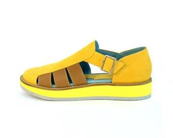 ON SALE Women's Platform Yellow Sandals - Womens Sandals - Womens Leather sandals - Women Rubber Sandals - Handmade Sandals - Summer Sandals