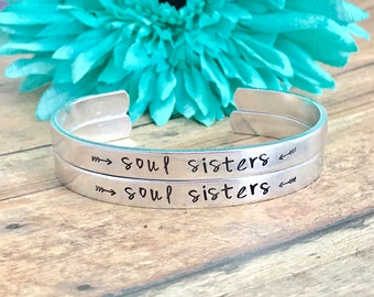 soul sisters  bracelets  set of TWO- best friends great gift- friends - family - soul sisters with arrows on the sides- adjustable cuff -
