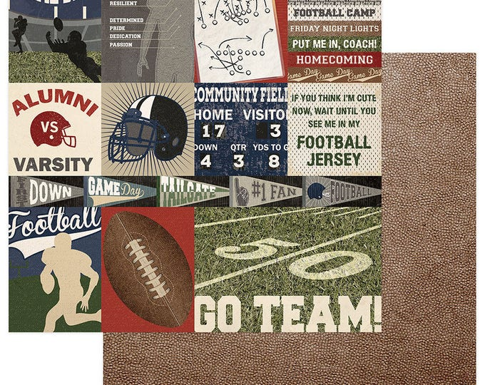 2 Sheets of Photo Play END ZONE 12x12 Football Scrapbook Cardstock Paper - Go Team