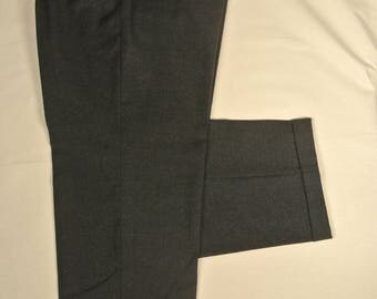 Corbin Solid Charcoal 100% Wool Flannel Dress Pleat Trousers Men's Size: 37x31
