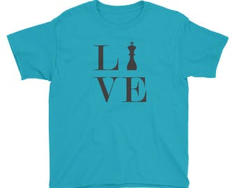 Youth Short Sleeve T-Shirt - Live Love Chess Black King Youth T-Shirt