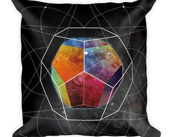 Square Pillow - Space Geometry Rainbow Hex Square Pillow