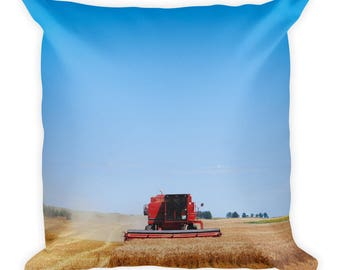 Square Pillow - Red Silo Original Art - Harvest King