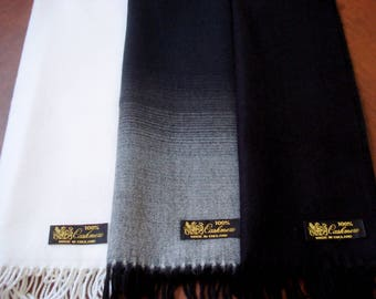 "Special Deal 3 Mix and Match Scottish Cashmere Scarves Made in England 72x12"" Rich Color New"