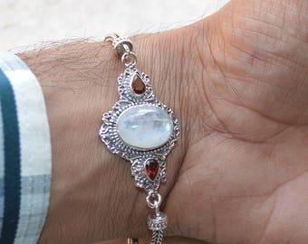 Beautiful Genuine Sterling Silver,Rainbow Moonstone Sterling Bracelet,Birthstone Bracelet,Adjustable Bracelet Moonstone&Red Garnet bracelet