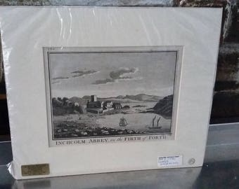 Vintage Print Inchcolm Abbey Firth of Forth Scotland Copper Engraving