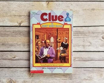 Clue No 2 The Secret Secret Passage Scholastic Paperback Mansion Mystery Clue Board Game Mrs Peacock Lead Pipe 1992 Childrens Chapter Book