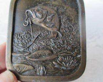 Vintage Large Mouth Bass Belt Buckle, Indiana Metal Craft, 1976
