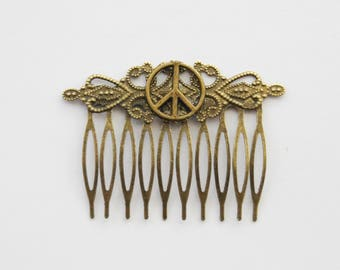Peace Sign Hair Clip, Protest Hair Accessories, Peace Hair Comb, Decorative Comb, Peace Sign Hair Comb, Antiqued gold Hair Clip, Mom Gift