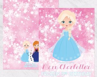 Frozen Invitation - Pink Frozen Birthday Party, Queen Elsa, Princess Anna Invitation