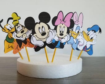 12 Mickey Mouse cupcake sticks Minnie Mouse Donald Duck Daisy Pluto Goofy Mickey Mouse Club House