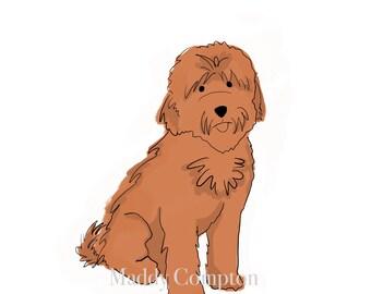 Goldendoodle Labradoodle Art Puppy Portrait Customizable Animal Illustration