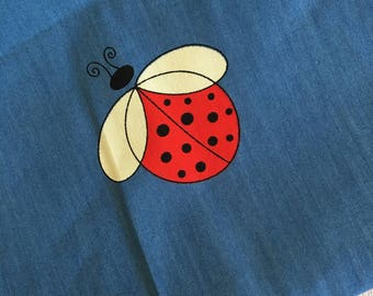 70's Vintage Blue LADYBIRD print light-mid weight cotton fabric