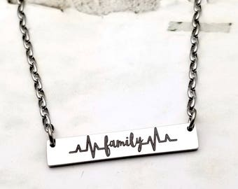 Engraved Family Heartbeat Bar necklace, family necklace, heartbeat of the family, family is everything, love, gift for mom