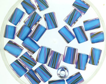 Furnace Glass Beads, Aqua Blue with Violet and Brown Stripes, Medium mixed size by Virginia Wilson Toccalino, 1 oz 22A