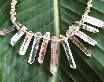 Handmade Hemp Macrame Necklace with Quartz Crystals