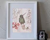 Hummingbird Guide Art Print, Hummingbird art