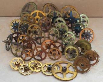 Lot of Assorted Vintage & Antique Brass Clock Gears - Clock Parts - Steampunk Gears - Authentic Clock Gears