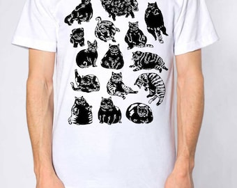 Cat pattern tee-cats gift-calico cat-clothing-cat tee-cat tshirt-cat-fat cat-tabby-kawaii-pattern-cat pattern-ink-drawing-effortless-fashion