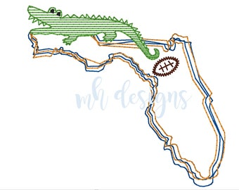 State of Florida with Gator and Football 5x7 embroidery design, Vintage stitch gator, Florida embroidery file, Bean stitch gator