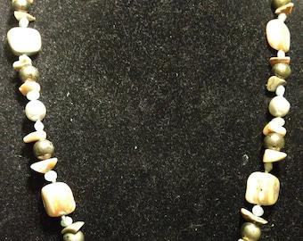 Vintage Designer Signed Les Bernard Abalone Shell Necklace