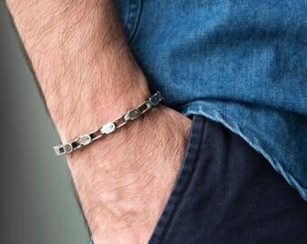 Men's Bracelet - Men's Silver Bracelet - Men's Cuff Bracelet - Men's Jewelry - Men's Chain Bracelet - Men's Gift - Boyfriend Gift - Husband