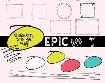 Doodle Frames and Borders, Doodle Clipart, Digital Scrapbook, Clipart Frames and Borders, Clipart Doodles, Hand Drawn