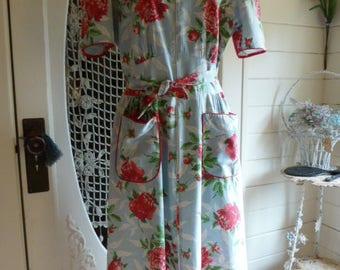 Vintage 40's Cotton Floral House Dress 1940's